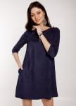 Изображение Платье-трапеция замшевое синее