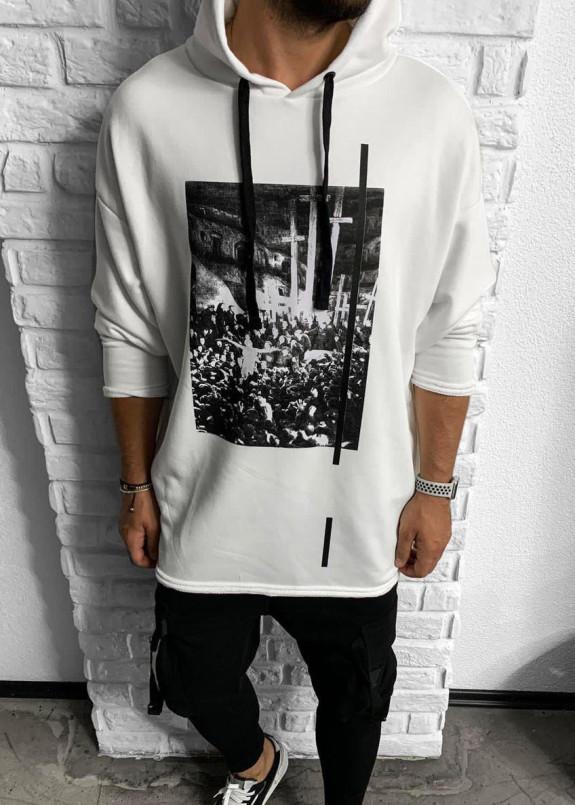 Изображение Худи белое с принтом крест на спине MFStore