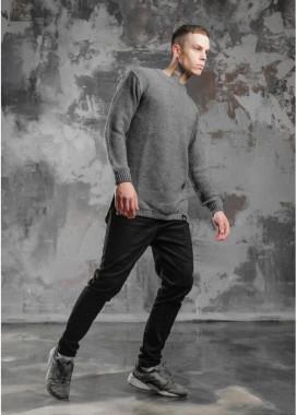 Изображение Свитер мужской удлиненный с разрезами серый