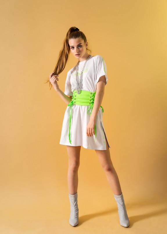 Изображение Платье-футболка с поясом-корсетом
