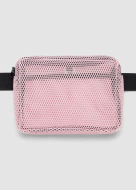 Изображение Прозрачная розовая сумка на пояс бананка квадратной формы