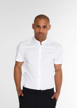 Изображение Рубашка мужская без воротника с коротким рукавом белая Black Limit