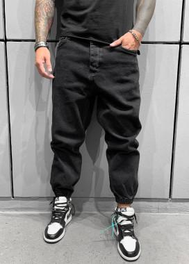 Изображение Джинсы широкие с манжетами-резинками черные MFStore