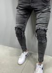 Изображение Джинсы серого цвета с рифлеными вставками на коленях
