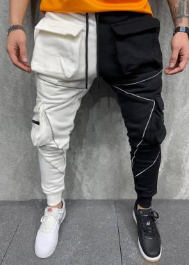 Изображение Штаны черно-белые спортивные со светоотражающими вставками MFStore