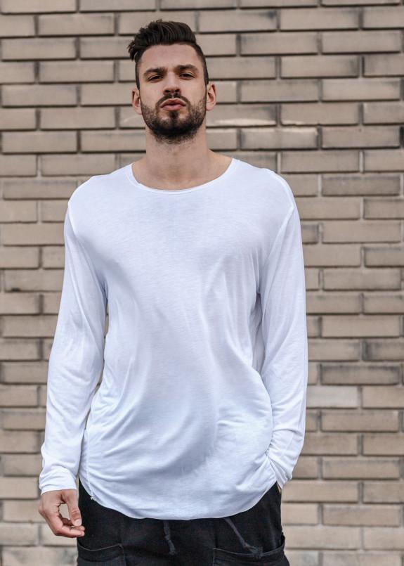 Изображение Лонгслив белый удлиненный мужской Mfstore