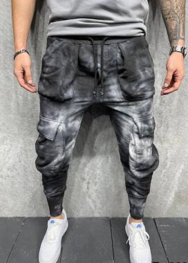 Изображение Штаны карго мужские с эффектом вареники черно-серые MFStore